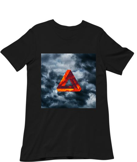 Abstract bright triangle with dark cloud