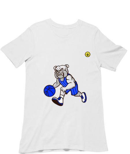 Bulldog Playing Basketball