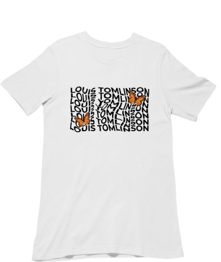 Louis Tomlinson butterflies typography merch