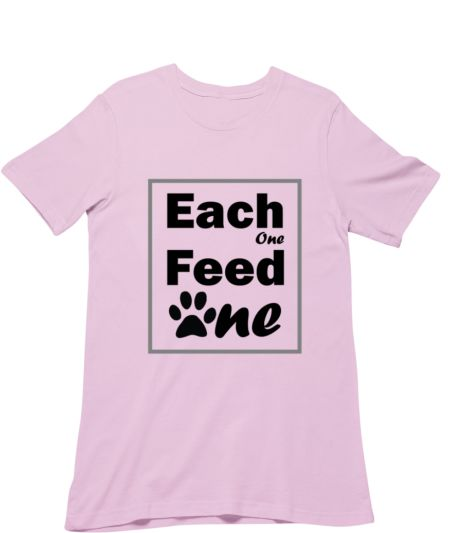 T-shirt For Animal Lovers With Each One Feed One Text And Paw In Black.