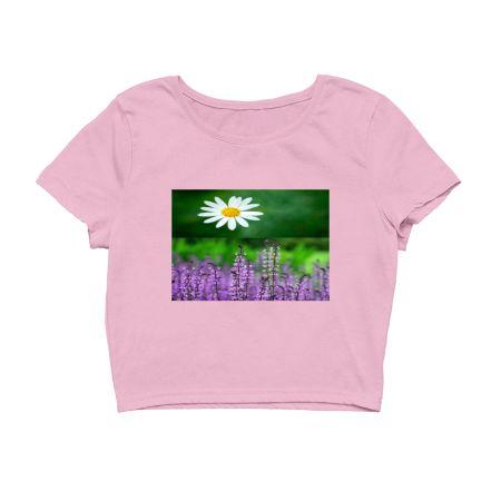 White & Pink Colour Flower's Design Crop Hoodie