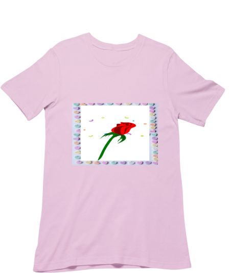 Colourful Heart and Red Rose Flower's Design