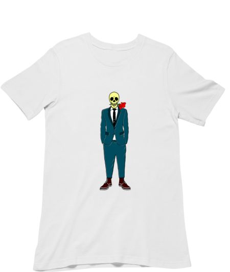 Skull Wearing Suit And A Rose In His Mouth