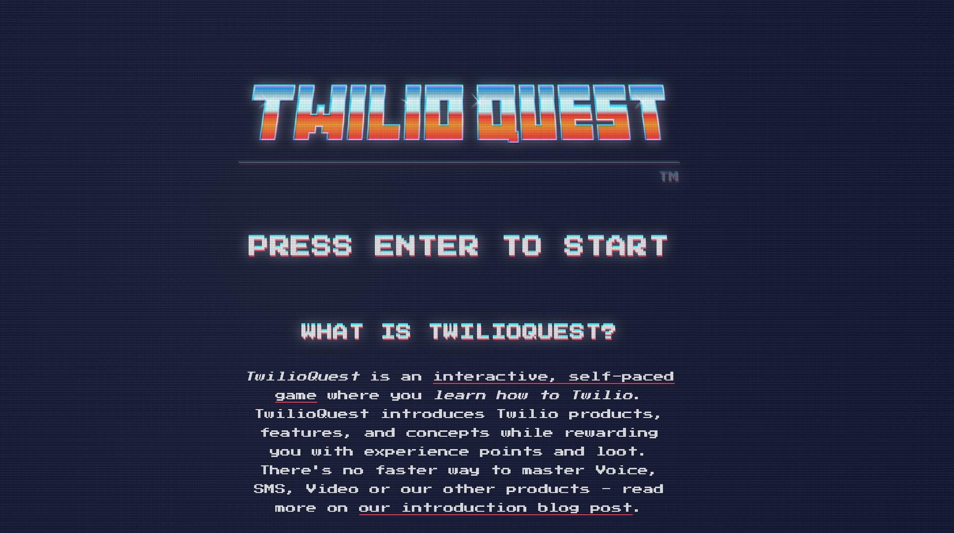 Screenshot of TwilioQuest