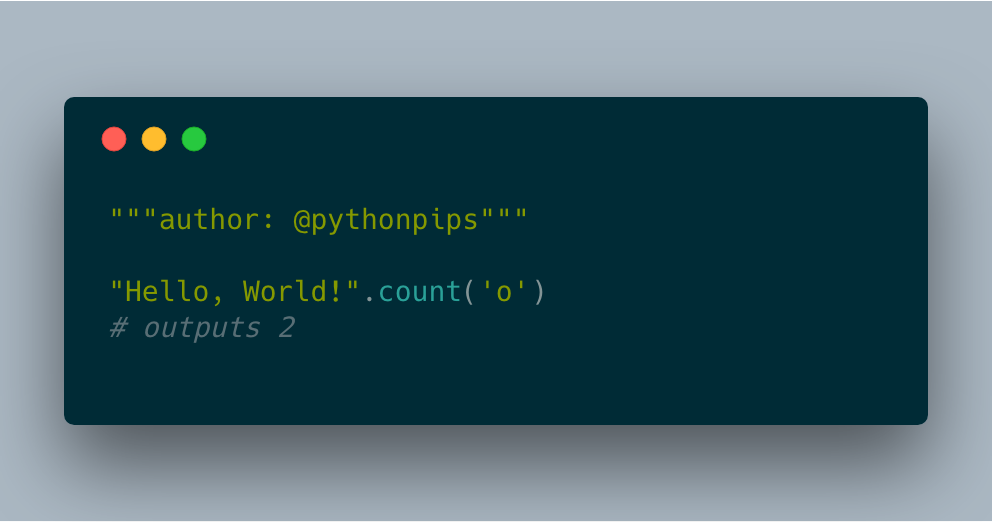 How to Count Number of Occurrences of a given character in a String in Python