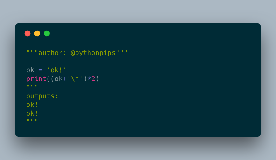 How to Print a String two times in two lines in Python