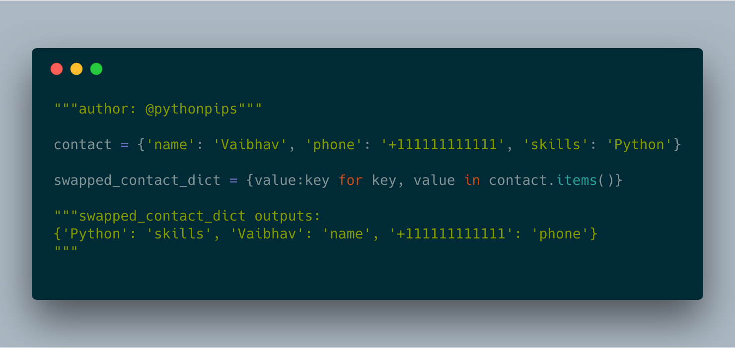 How to Swap Key and Values of Dictionary in Python