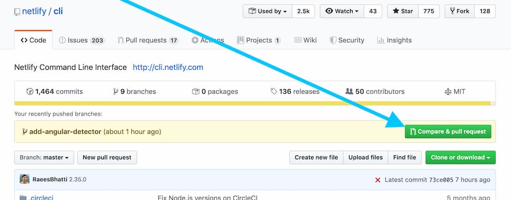 screenshot of the compare and pull request button