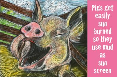A huge, happy looking pig.