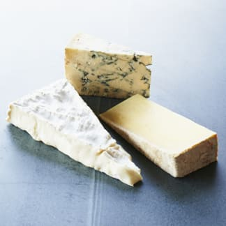A Classic Cheeseboard: Brie, Cheddar & Blue