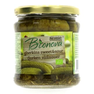 Bionova Sweet and Sour gherkins