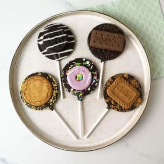 Dark Chocolate Biscuit Letterbox Lollipop Set
