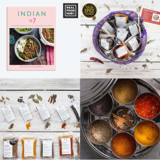 Indian in 7: Delicious Indian Recipes and Indian Spice Tin - 9 Spices & Handmade Silk Sari Wrap