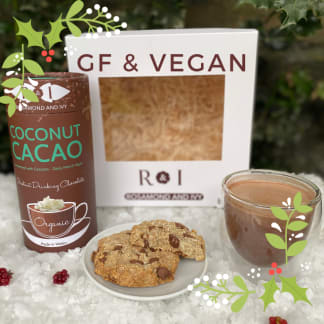Coconut Hot Chocolate 2 Double Walled Glass & Cookies Vegan Gift Box