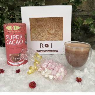 Hot Chocolate, Mini Mallows & Double Walled Glass Luxury Gift Box