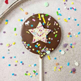 Milk Chocolate Sprinkle Star Lollipop