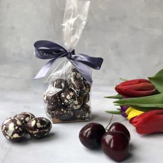 Hand Painted Sour Cherry & Dark Chocolate Mini Chocolate Eggs (Vegan)