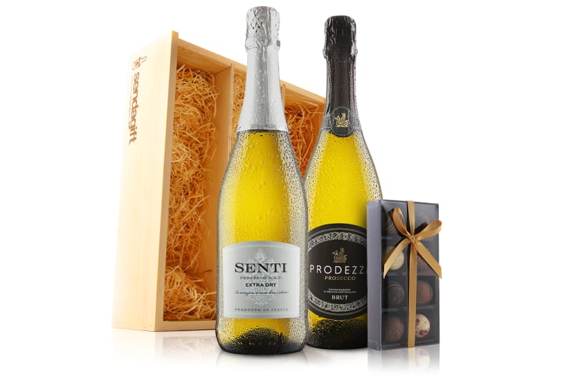 Prosecco Duo with Chocolates in Wooden Gift Box