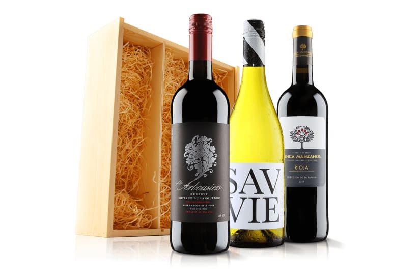 Luxury Mixed Wine Trio in Wooden Gift Box