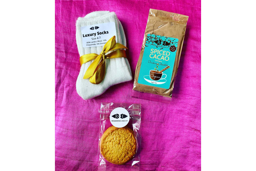 Luxury Keto Letterbox Hot Chocolate Gift: Spiced Cacao Cookie and Lambswool Socks *Free Delivery