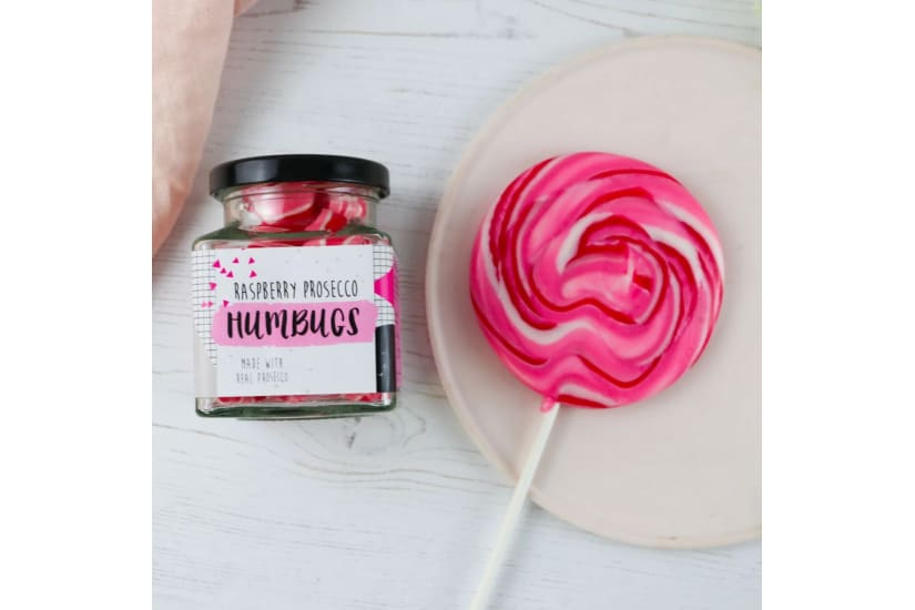 Raspberry Prosecco Alcoholic Sweets And Lollipop Gift Set