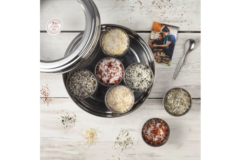 Flavoured Sea Salts Collection with 7 Flavoured Salts, and Stainless Steel Storage Tin