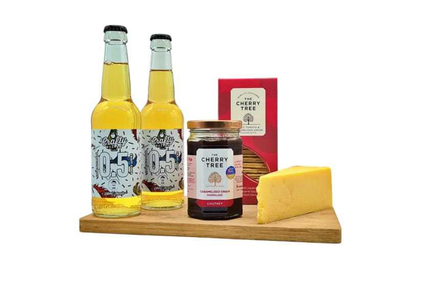 Alcohol Free Cider and Cheese Box
