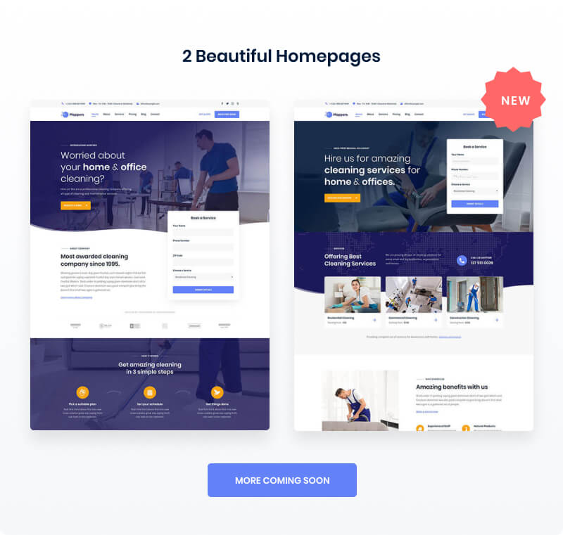 Moppers - Cleaning Company and Services WordPress Theme
