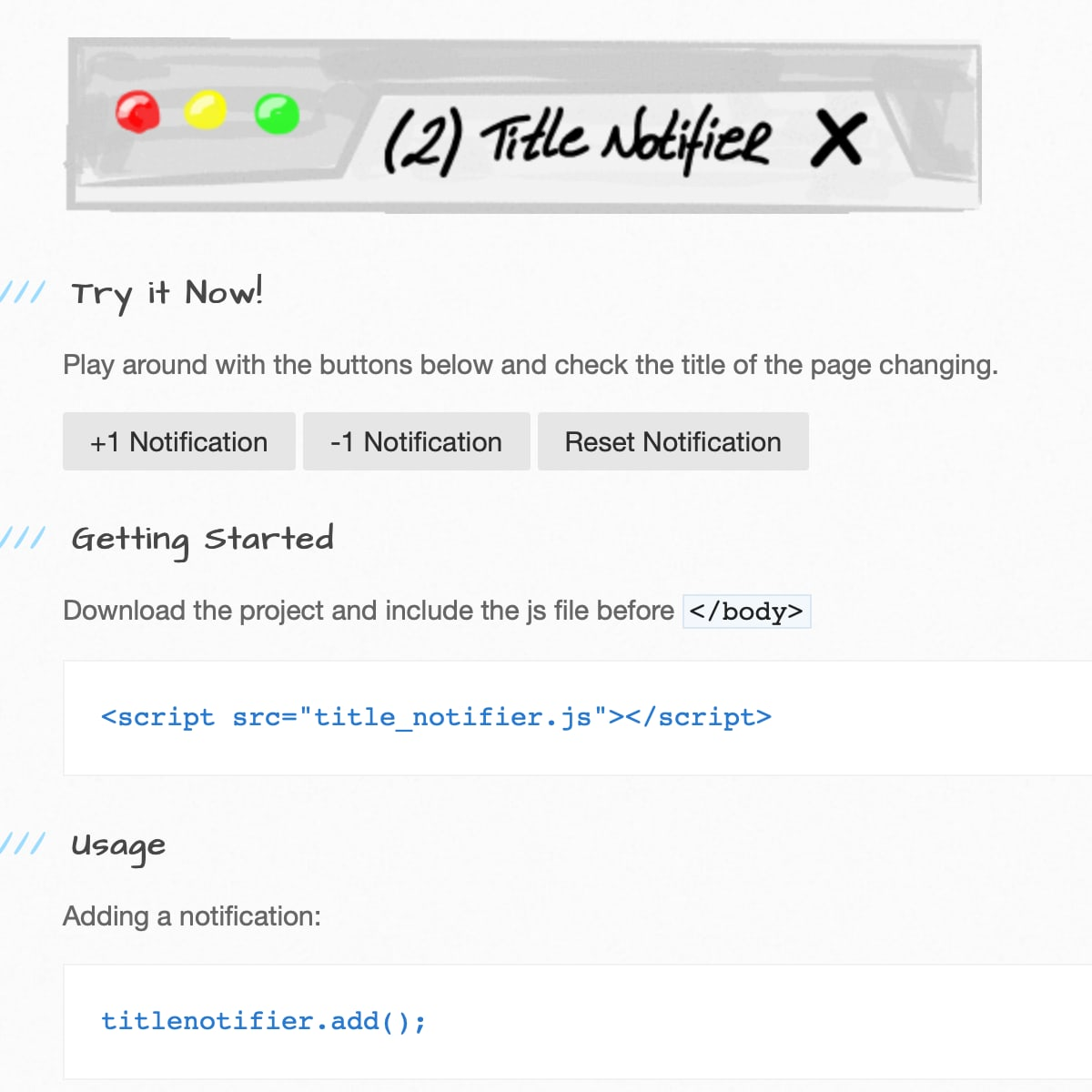 TitleNotifier.js Screenshot