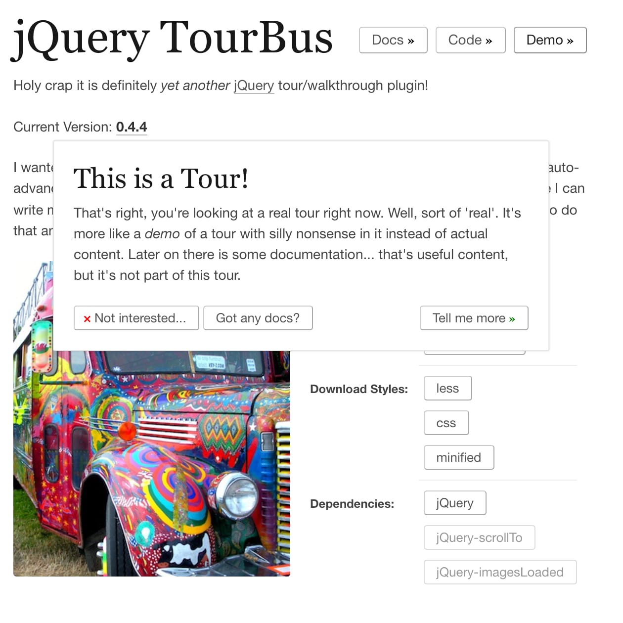 jQuery TourBus Screenshot