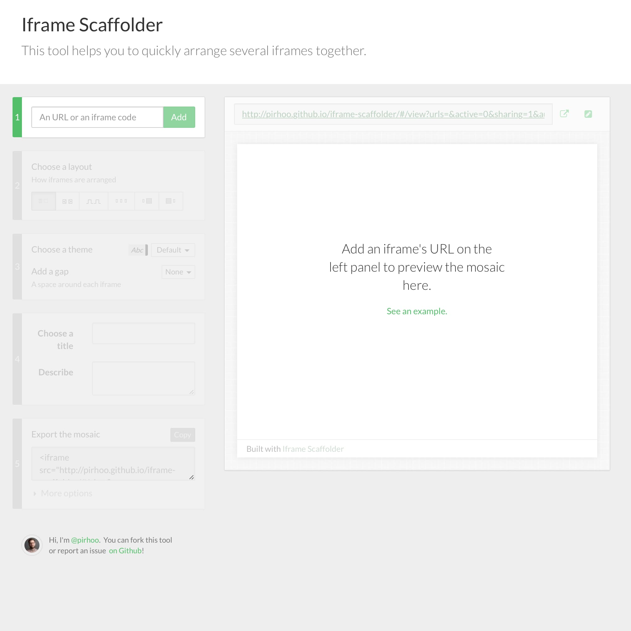 iframe Scaffolder Screenshot