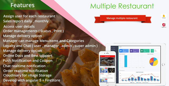 Multiple Restaurant Mobile App with Backend Develop on NodeJS and
