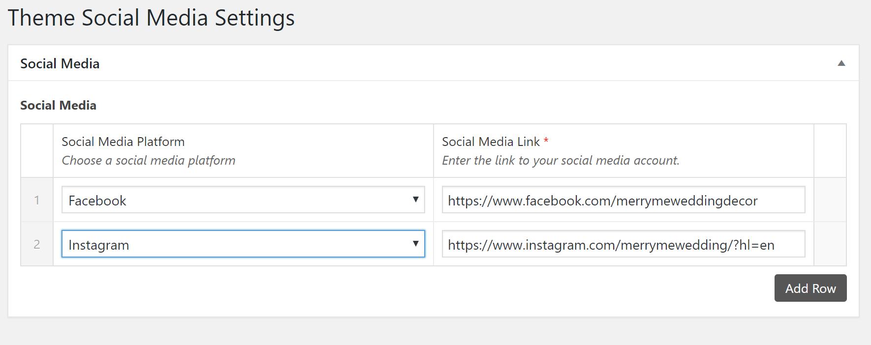 adding social media icons using ACF