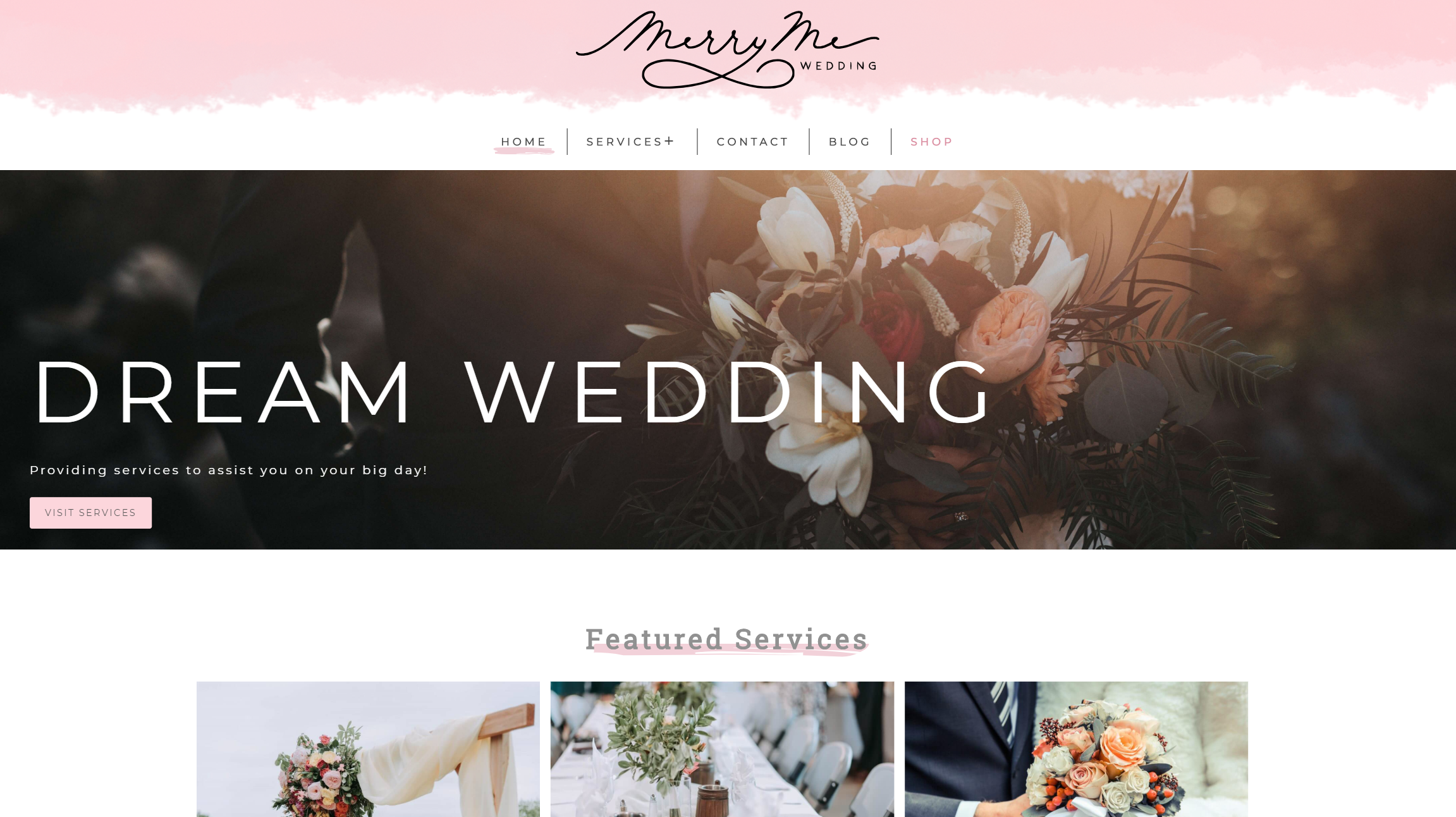 image of merry me wedding website