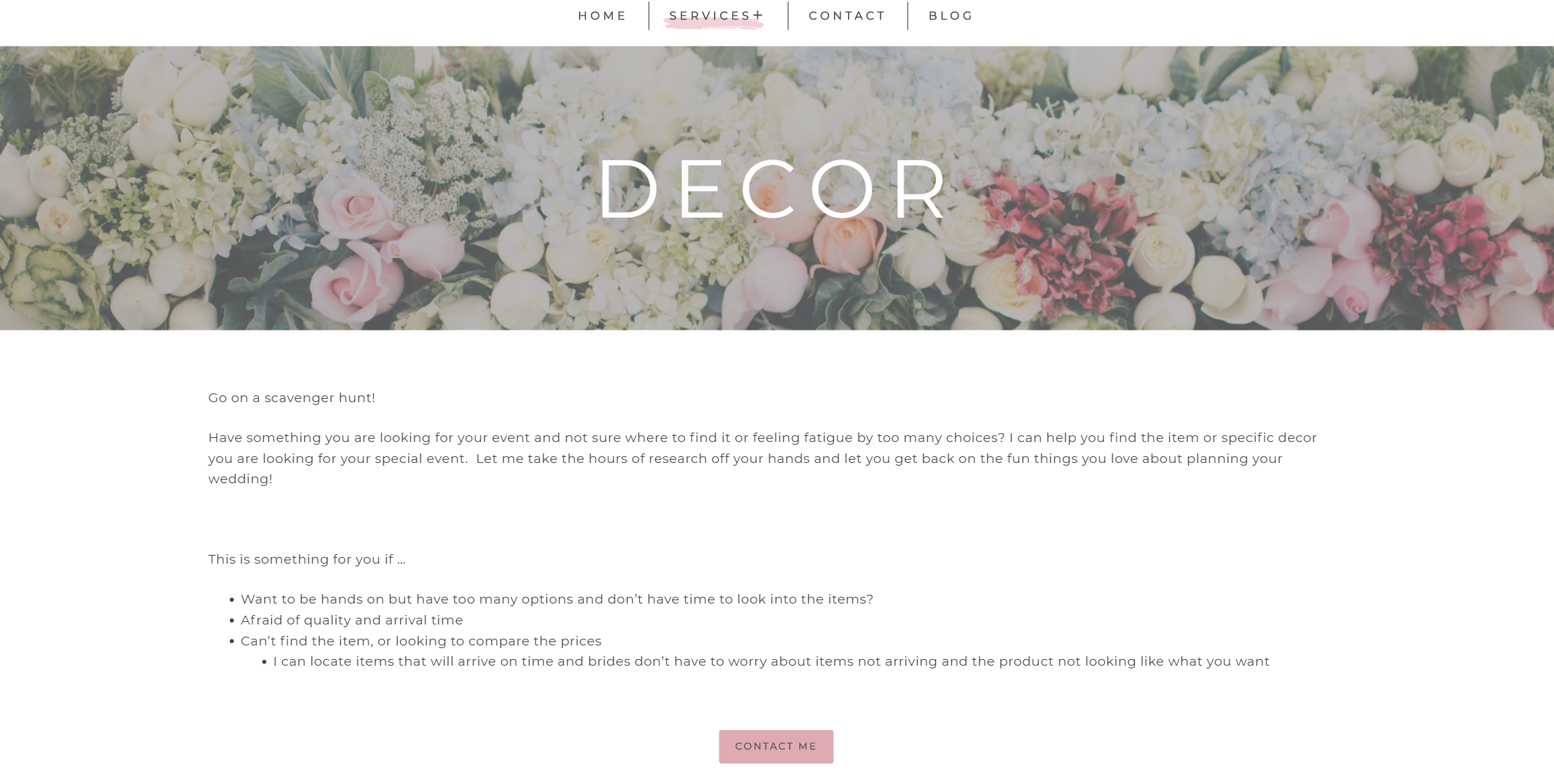 Merry Me decor services page