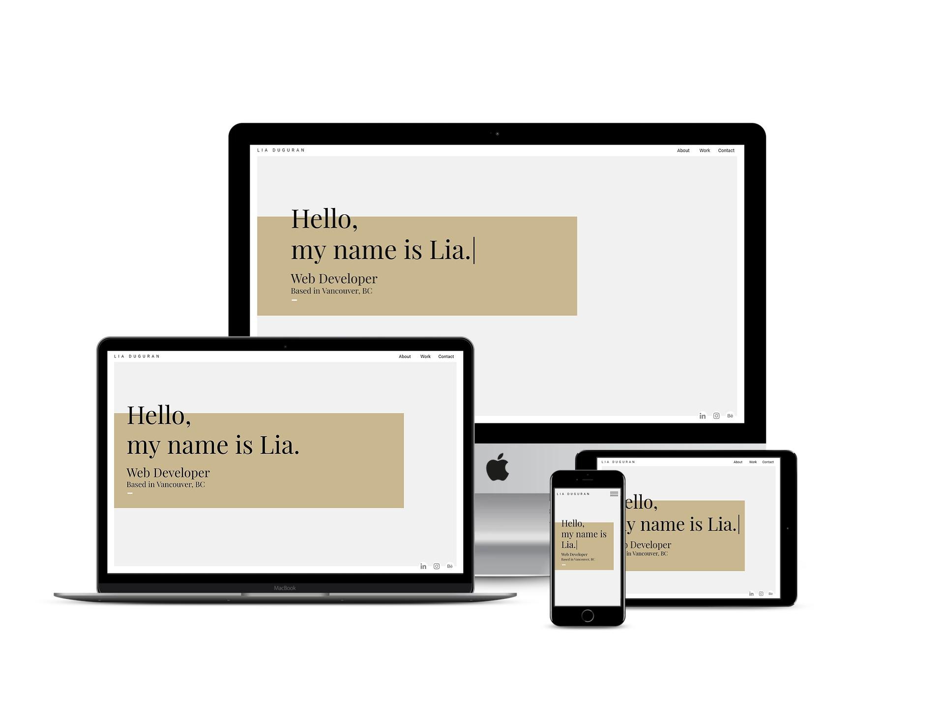 portfolio website, shown on multiple devices. Desktop, laptop, phone and tablet