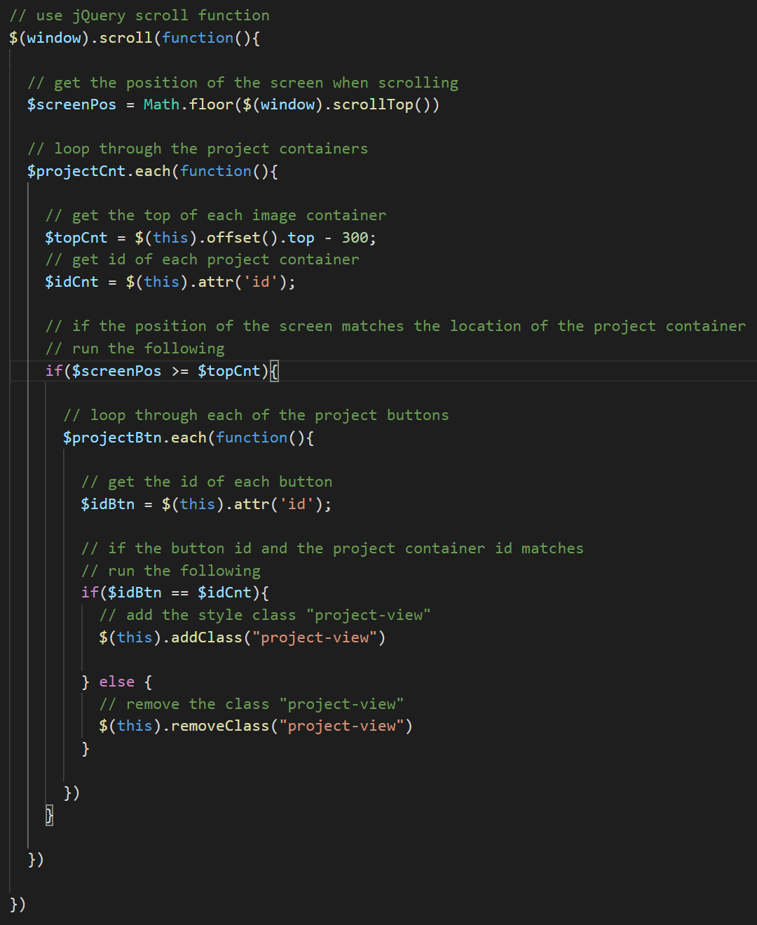 screenshot of the code used for the button coor on scroll