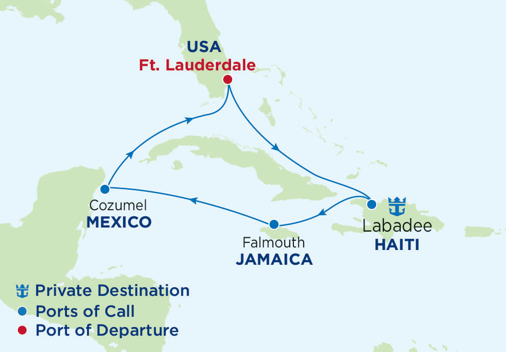 7 Night Western Caribbean, Oasis of the Seas, OA, Oasis Class, departs Fort Lauderdale, Map of the Caribbean Sea