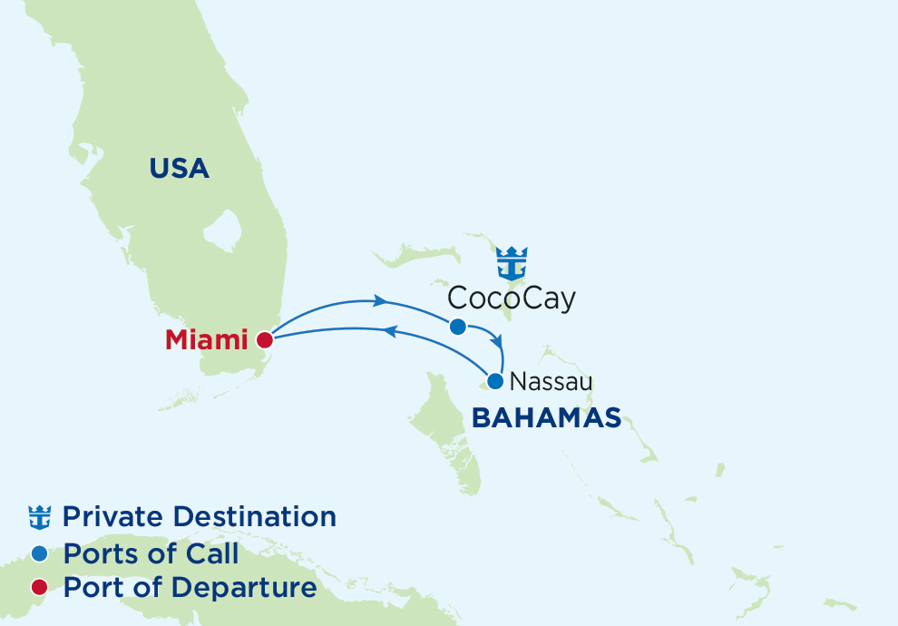 3 Night Bahamas, Majesty of the Seas, MJ, Sovereign Class, departs Miami, Map of Atlantic Ocean