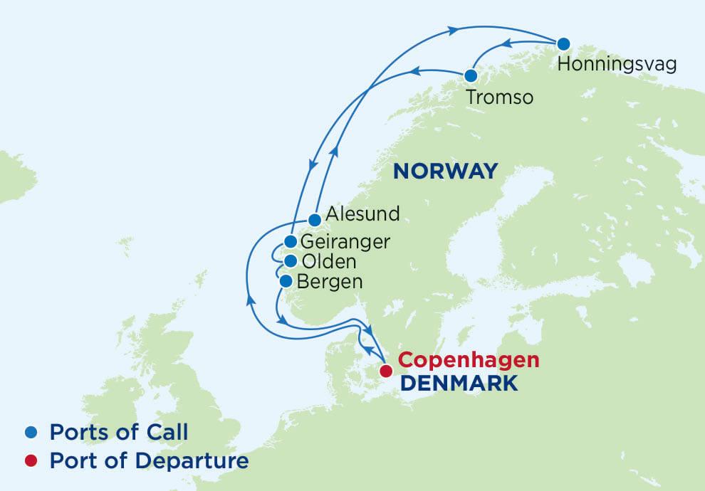 11 Night Arctic Circle, Serenade of the Seas, SR, Radiance Class, departs Copenhagen, Map of Northern Europe