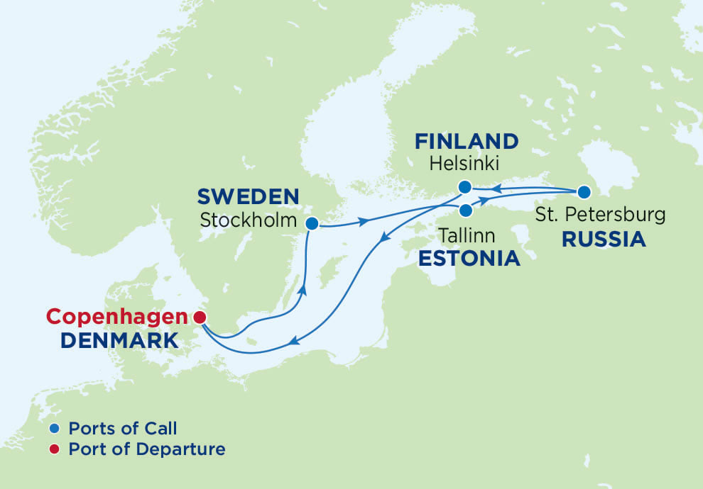 7 Night Scandinavia and Russia, Serenade of the Seas, SR, Radiance Class, departs Copenhagen, Map of Northern Europe