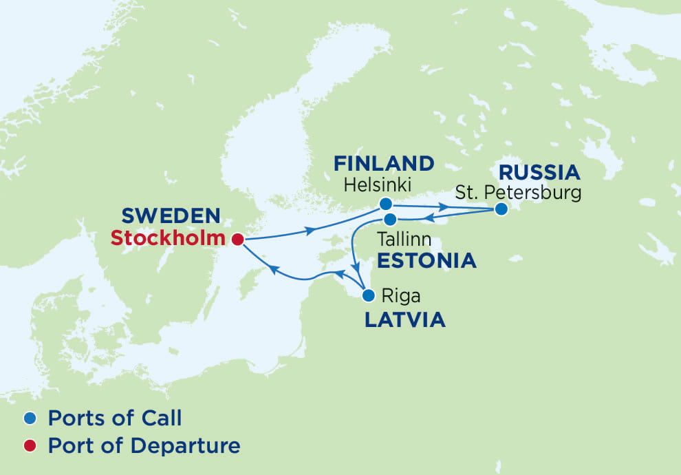 7 Night Scandinavia Russia, Serenade of the Seas, SR Radiance Class, departs Stockholm, Map of Northern Europe