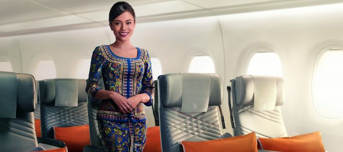 Singapore Airlines cabin crew insides aircraft