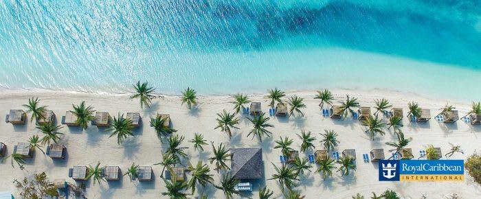 vajande palmer, turkosblått hav, paradisstränder