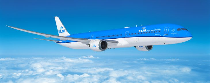 KLM Boeing 787 in the air