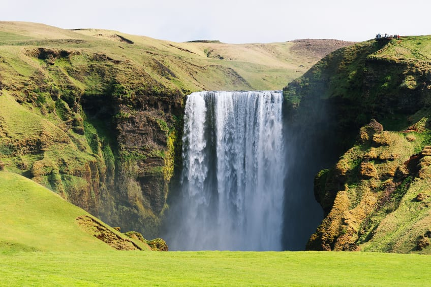 Skogafoss waterfall in Iceland in summer