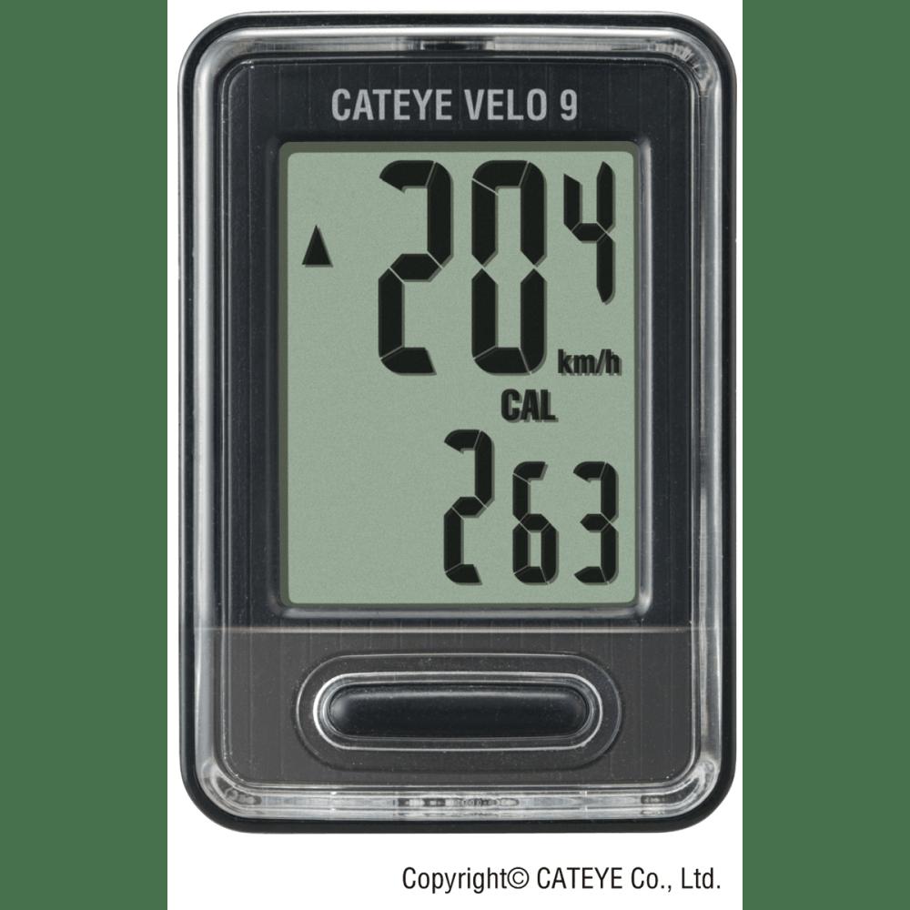Cateye Velo 9 Cycling Computer - BLACK