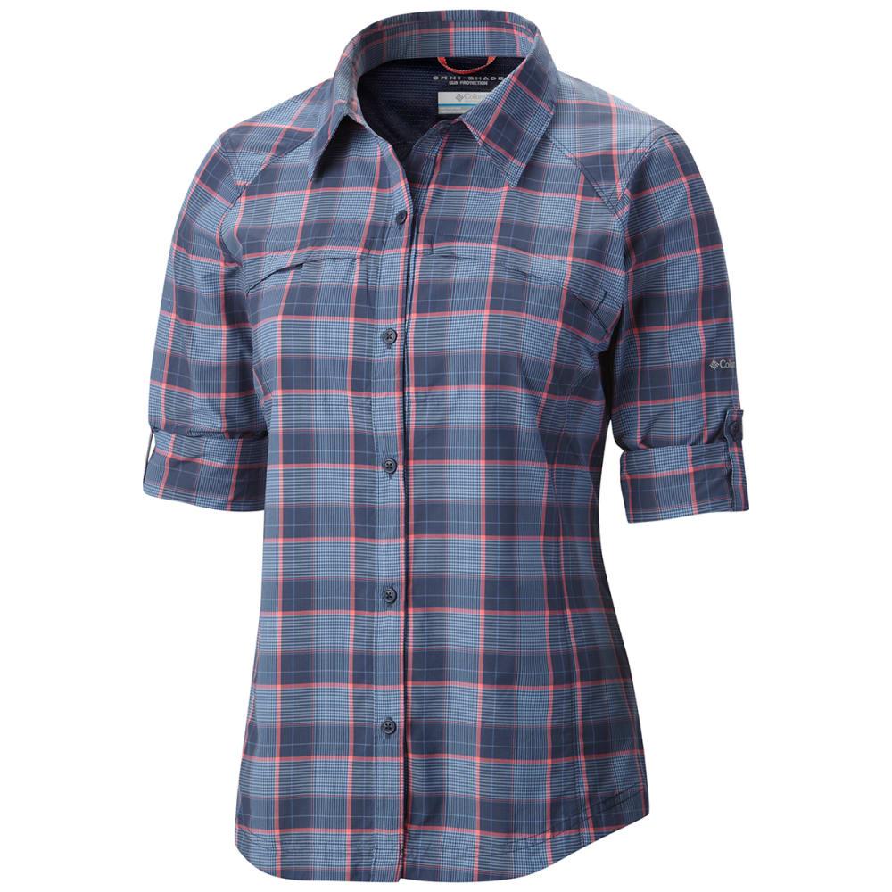 COLUMBIA Women's Silver Ridge Plaid Long-Sleeve Shirt - NOCTURNAL PLAID