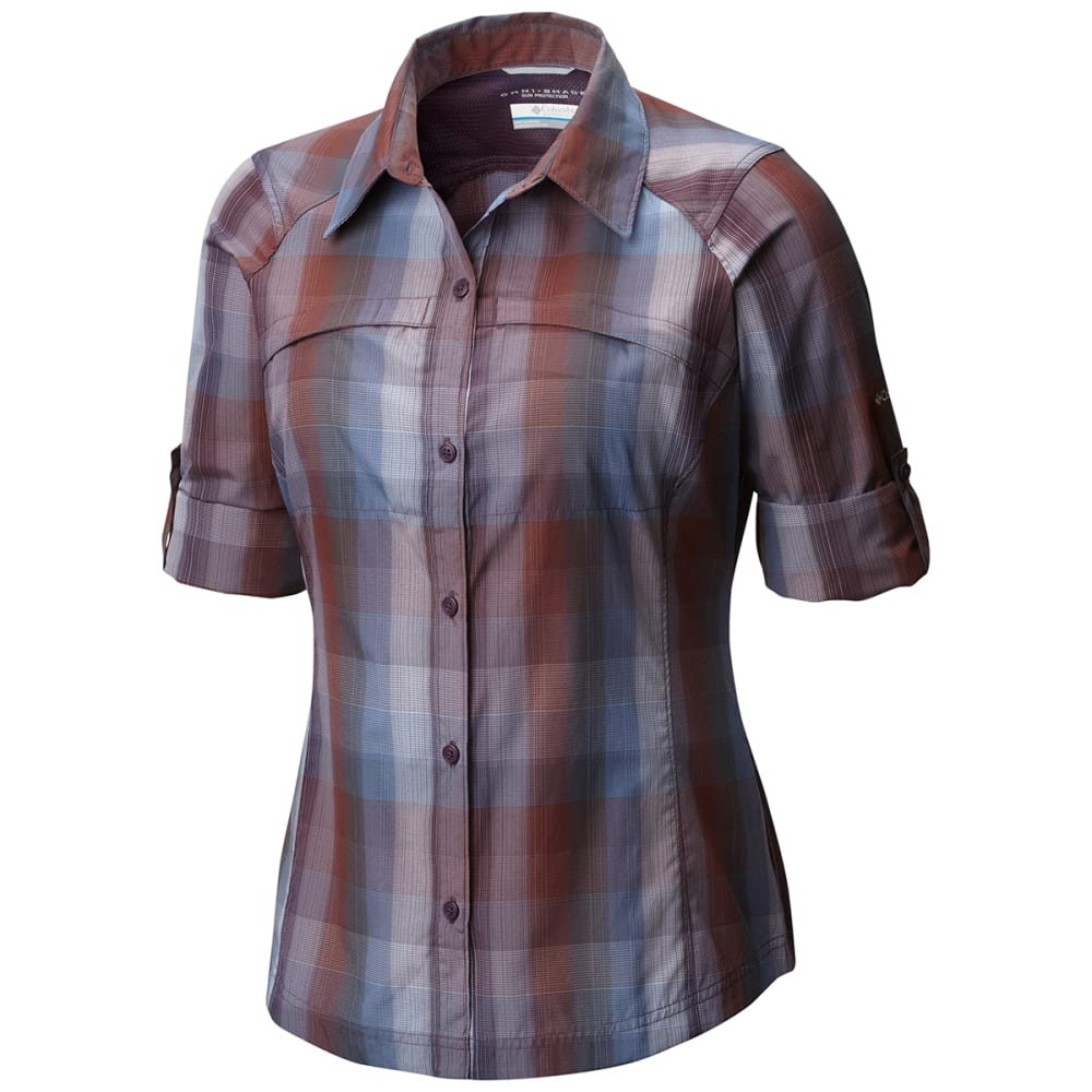 COLUMBIA Women's Silver Ridge Plaid Long-Sleeve Shirt - 503-DUSTY PURPLE OMB