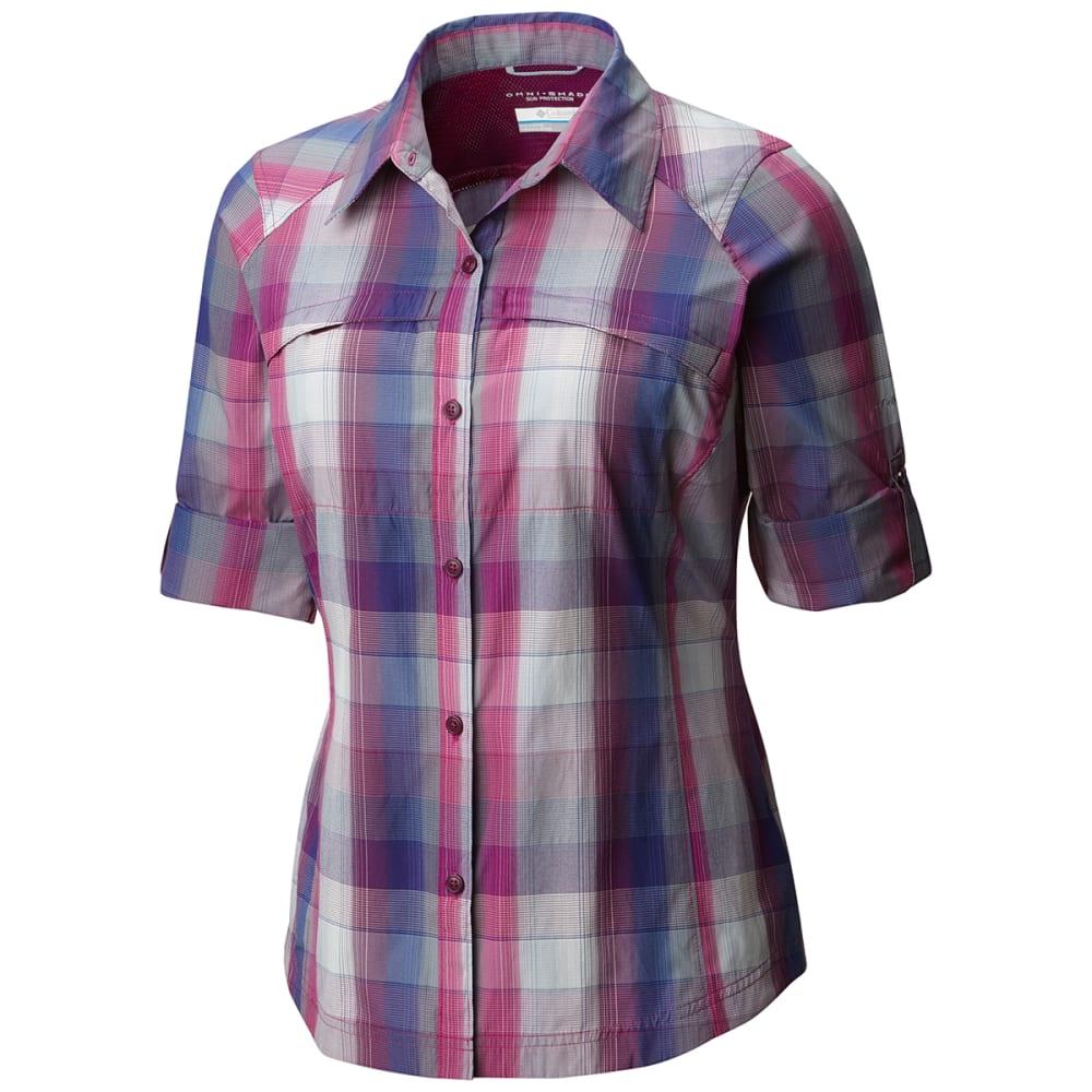 COLUMBIA Women's Silver Ridge Plaid Long-Sleeve Shirt - 683-DEEP BLUSH OMBRE